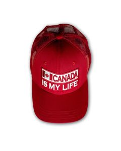 CANADA IS MY LIFE Baseball Netback Cap - Red